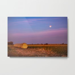 Hay Bales Under the Super Blue Blood Moon in Oklahoma Metal Print