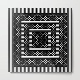 Black White Stars On Lines Metal Print