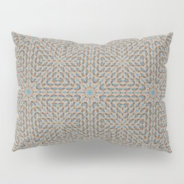Beige and Blue Mosaic Pattern Pillow Sham