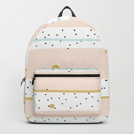 Pink and Blue stripes with gold confetti Backpack