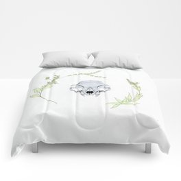 minimalist cat skull and vines Comforters