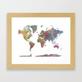 World Map - Watercolor 4 Framed Art Print