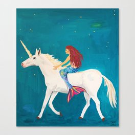 Red Haired Mermaid Rides the Unicorn Canvas Print