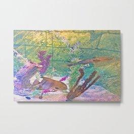 Underwater Wall Watercolor Metal Print