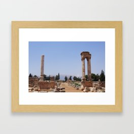 Ruins - Pillars & Mountains  Framed Art Print