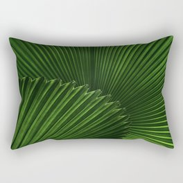 Tropical Green Palm Fan Leaf Geometric Stripe Textured Origami Pattern Rectangular Pillow