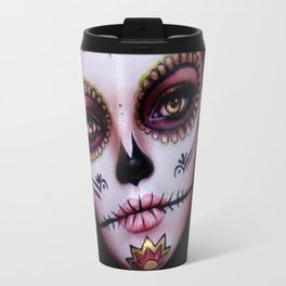 Mexican Hibiscus Day of the Dead Skull Travel Mug
