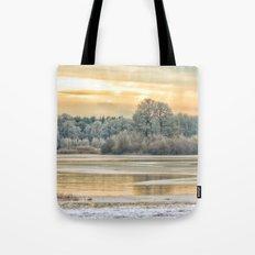 Walk on the winter lake Tote Bag