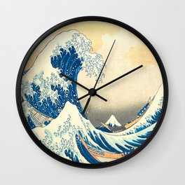Japanese Woodblock Print The Great Wave of Kanagawa by Katsushika Hokusai Wall Clock