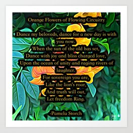 Orange Flowers Of Flowing Circuitry Poem Art Print