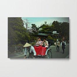 Kimono Girls on Rickshaw Metal Print