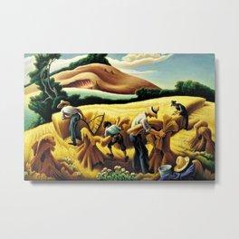 Classical Masterpiece 'Cradling Wheat' by Thomas Hart Benton Metal Print