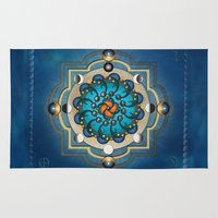 moon phases Area & Throw Rugs featuring Mandala Moon Phases by Bedros Awak