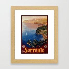 Italy Sorrento Bay of Naples vintage Italian travel Framed Art Print