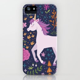 Be Magical Unicorn Pattern in a Garden iPhone Case