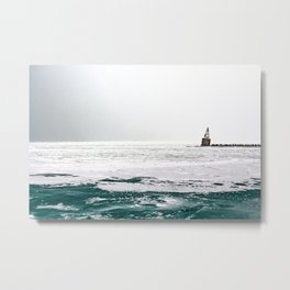 Winter in Chicago aka Chiberia; Ice Patches Float in Lake Michigan Metal Print