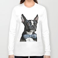 terrier Long Sleeve T-shirts featuring Boston Terrier by Orestis Lazos