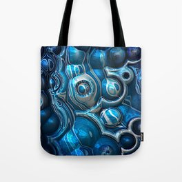 Macro 3D Blue Reflections Tote Bag