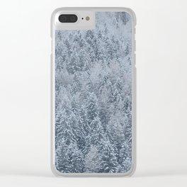 Snowy Pine Forest - Hallstatt, Austria Clear iPhone Case