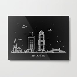 Jacksonville Minimal Nightscape / Skyline Drawing Metal Print