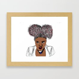 Curly Natural Afro Hair Kinky Pretty Girl Paint Drawing Framed Art Print