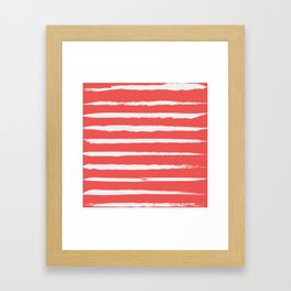 Irregular Hand Painted Stripes Coral Red Framed Art Print