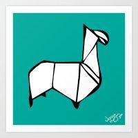 Origami Llama [Origami Series] Art Print