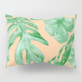 Tropical Monstera Hibiscus Botanical Pattern Green Coral Peach Pillow Sham