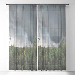 Stormflower - Sunflower and Storm in Texas Sheer Curtain