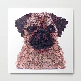 PUG- Hand-Rolled Paper Art Metal Print