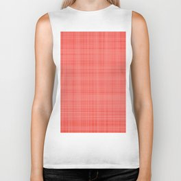 Living Coral Plaid_Tartan Pattern Biker Tank