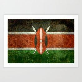National flag of Kenya -Vintage version, to scale Art Print