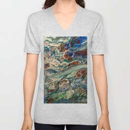 Blue Abstract Print Unisex V-Neck
