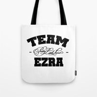 ezra koenig Tote Bags featuring PLL - Team Ezra Pretty Little Liars by swiftstore