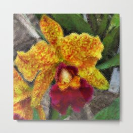 Smeary Painted Orchid Metal Print