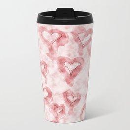 Pink Pastel Hearts on Watercolour Clouds Metal Travel Mug