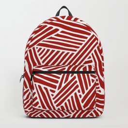 Abstract Navy Red & White Lines and Triangles Pattern Backpack