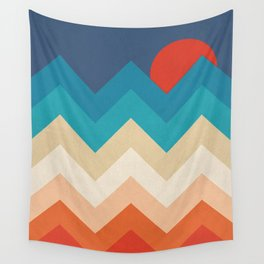 Vintage 70s Adventure on the Mountains Wall Tapestry
