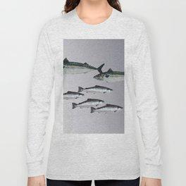 Tuna an Salmon Fish grey Long Sleeve T-shirt