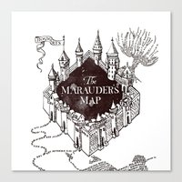 marauders Canvas Prints featuring MARAUDERS MAP by ThreeBoys