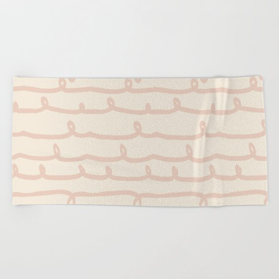 Vine Stripes Vintage Pink on Rose Petal Cream Beach Towel