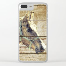 Rustic Brown Cream Horse Cottage Chic Country Decor Barn Art A019 Clear iPhone Case