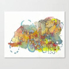Village of Portraits Abstract Landscape Watercolor Illustration Painting Canvas Print