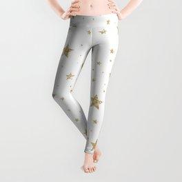 gold stars pattern white Leggings