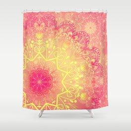 Mandala in Rose and Lemon Shower Curtain