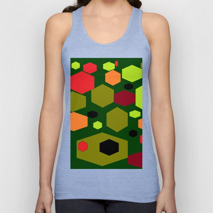 Retro 60s design with greens and reds Unisex Tank Top