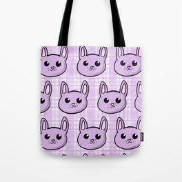 Lavender Bunnies and Plaid Tote Bag