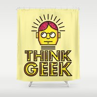 geek Shower Curtains featuring Think Geek by ohzemesmo