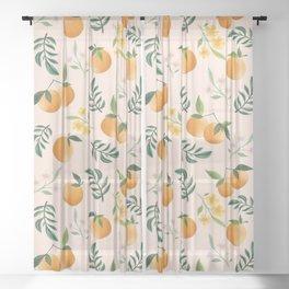 Zesty Oranges Pattern in Peachy Pink Sheer Curtain