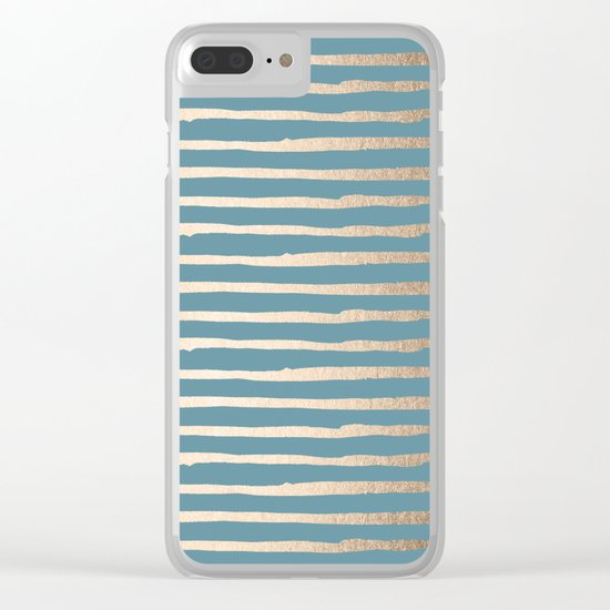 Abstract Stripes Gold Tropical Ocean Blue Clear iPhone Case